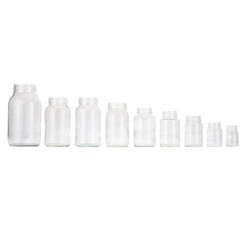BP100C, 100ml, Clear, Glass, R3/38, Screw, Powder Jars