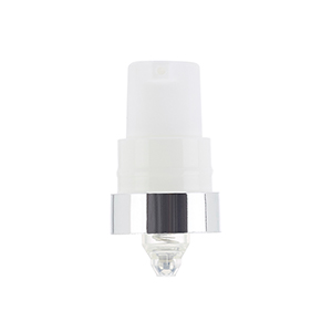 19mm White Breeze Airless Pump w/ Clear PP Overcap, Silver Band