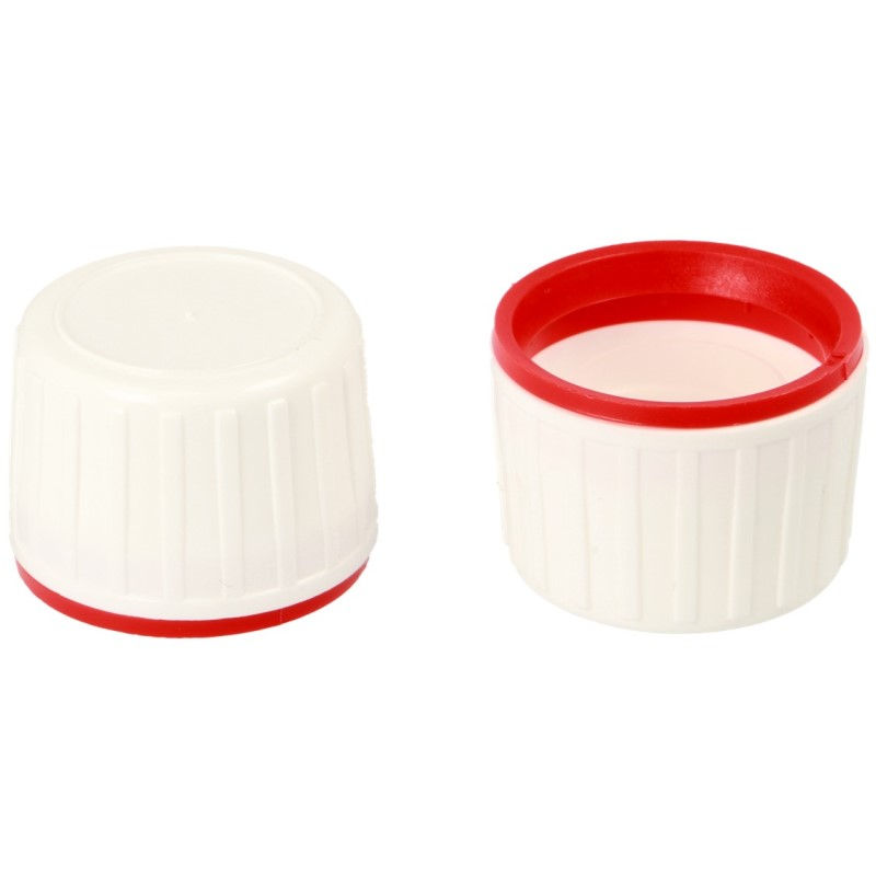 PP28 White/Red Tamper Evident Closure + Single Hole Plug Insert