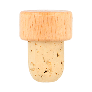 29 x 15 / 19.5 x 27 Natural Wooden Top Stopper Lacquered Beechwood, Supergrade Cork