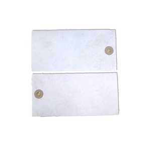 134mm x 67mm White Tyvek Tag square cut c/w std washer and brass eyelet