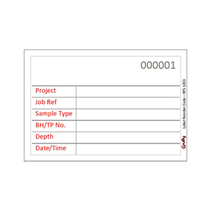 89Wx61H White Sequentially Numbered Grufty weatherproof Label, Over-writable