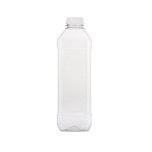 1 L Clear Square PET Bottles - capped with 34TEW