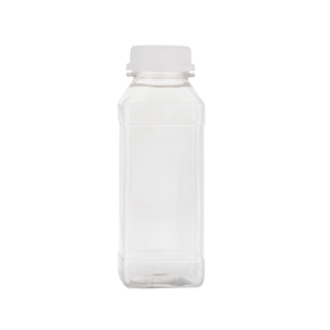 250ml Clear Square PET Bottles - capped with 34TEW