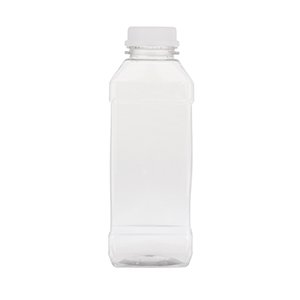 500ml Clear PET Square Bottles  - takes 34TEW