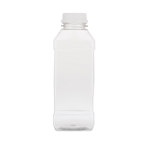 500ml Clear PET Square Bottles - capped with 34TEW