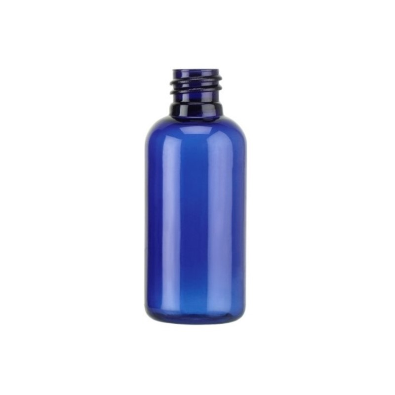 50ml Blue PET Boston Round Bottle
