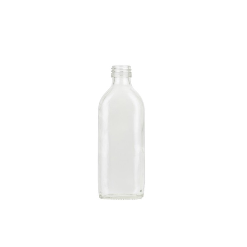 200ml Clear Glass Sloping Shoulder Flat Bottle