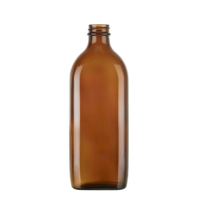 300ml Amber Sloping Shoulder Flat Bottle