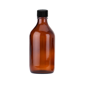 500ml Amber Winchester Bottle Capped with Black Polycone Closure